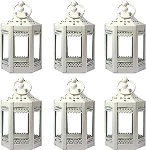 Vela Lanterns 6pc 4.5 Inch Metal Tealight Mini Candle Lantern, White