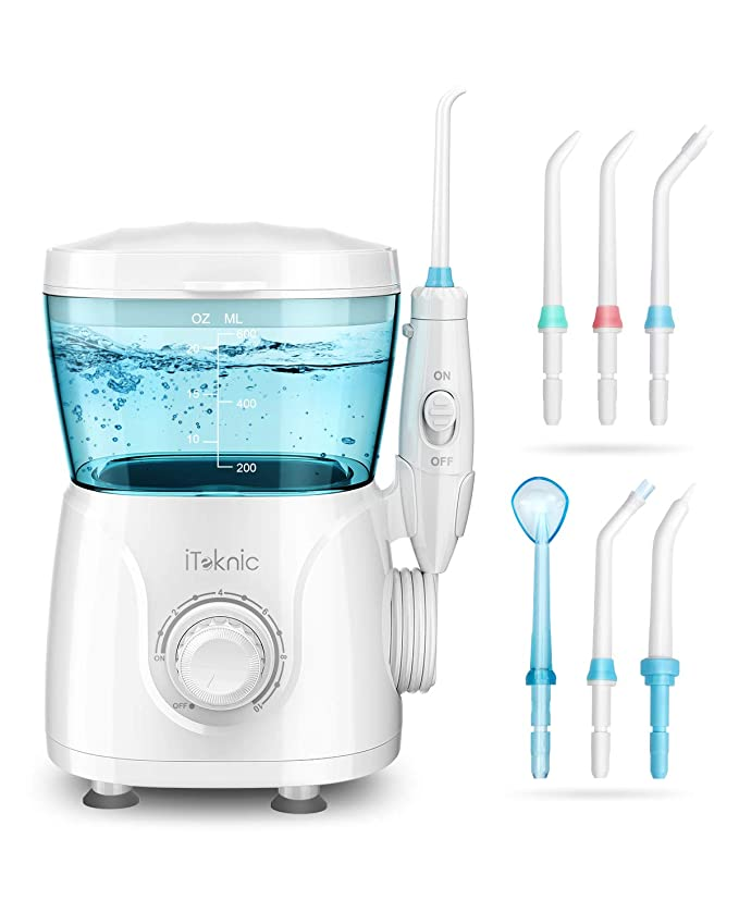 Amazon.com: iTeknic Water Flosser for Braces Teeth Cleaning, 600ML Water Pick Teeth Cleaner for Family, Bridges & Gum Care, Professional Electric Dental Oral Irrigator with 10 Water Pressure Levels, 7 Jet Tips: Beauty