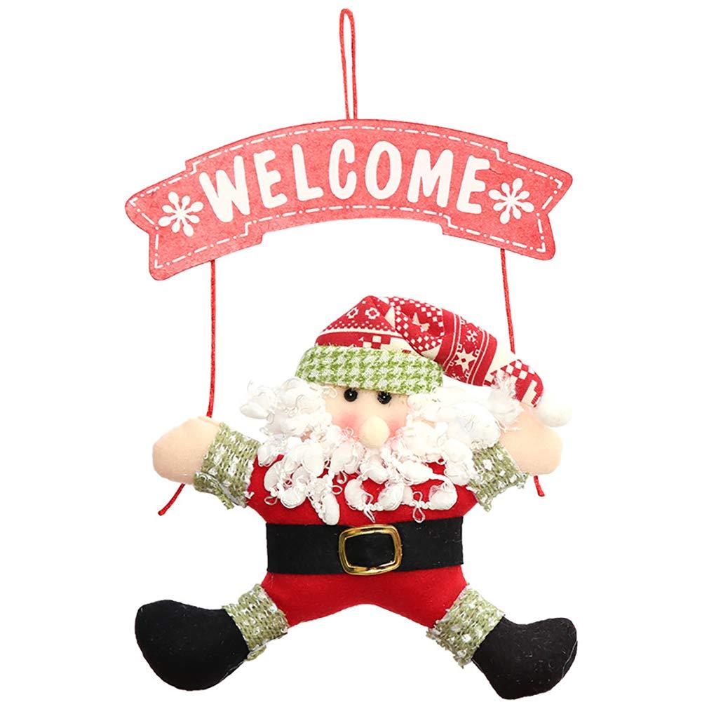 Bodhi2000 Welcome Santa Snowman Xmas Door Hanging Christmas Ornaments Decoration Xmas Gift Holiday Party Favourite Santa Claus