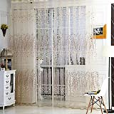 Ainest Leaves Floral Tulle Voile Door Window Curtain Sheer Panel Drapes Scarfs Valances Beige