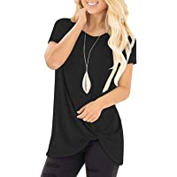 onlypuff Women's Comfy Casual Short Sleeve Side Twist Knotted Tops Tunic Shirts