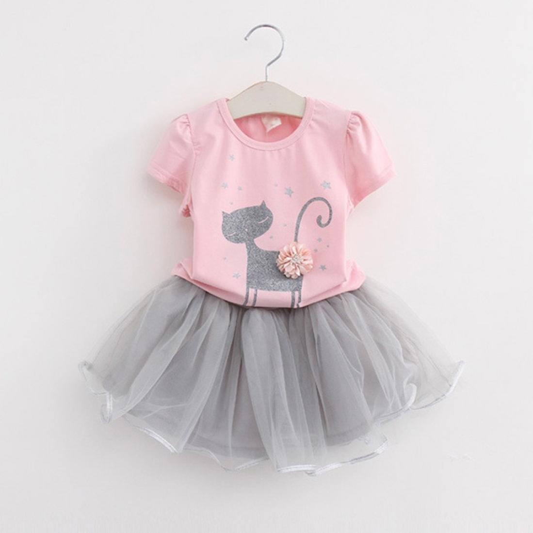 3f60052c96b Amazon.com  Canserin Hot Sale 2017 Summer Kids Girls Cartoon Little Kitten  Printed T-Shirt+Dress Clothes Set  Clothing