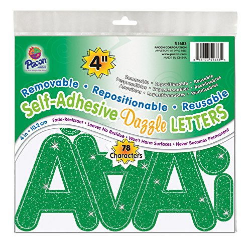 "Pacon 4"" Self-Adhesive Uppercase Letters, 78-Count, Green Dazzle (51683)"