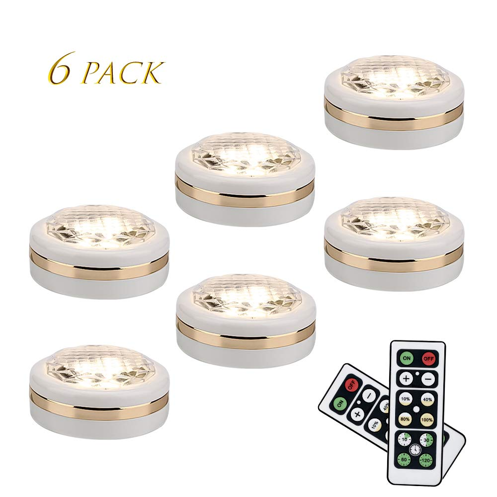 LEASTYLE Wireless LED Puck Lights with Remote Control 6 pack, LED Under Cabinet Lighting,Puck Lights Battery Operated, Closet light, Under Counter Lighting, Stick On Lights by LEASTYLE