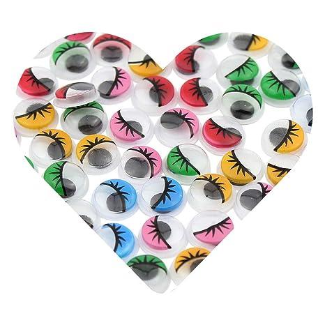 DEKOWEAR Ojos Manualidades Pestañas 100 piezas de Juguetear Plástico, Ojo 10 mm Redondos, DIY