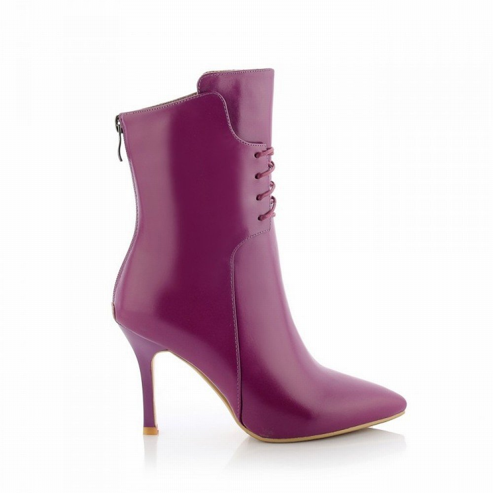 DIDIDD Hochhackige Damen Spitzen Stiefel in Edlem High-End mit Spitzen Damen High-End Damenschuhen,Lila,39 - 294ca5