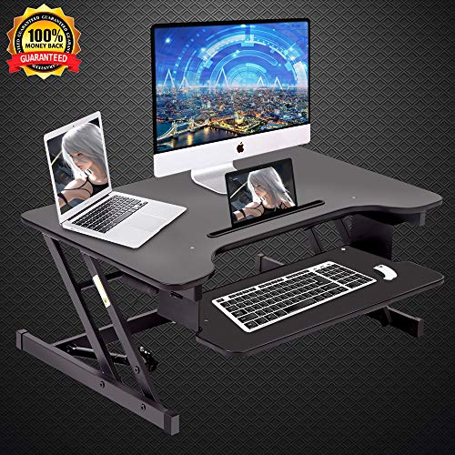 Dkeli Standing Desk,Height Adjustable Sit to Stand Gas Spring 32'' Wide Tabletop Workstation fits Dual Monitor by Dkeli