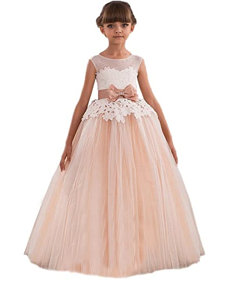 KekeHouse® Flower Girls Dress For Wedding Floral Lace Kid Pageant Dress Sash Bow Beading Kid Birthday Party Dress Pink: Amazon.co.uk: Clothing