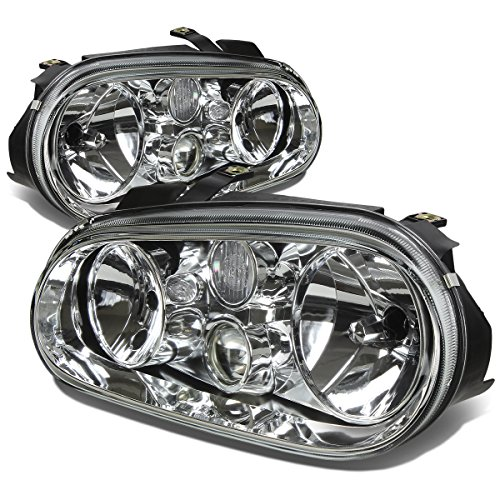 For Volkswagen Golf MK4 MK IV Pair of Chrome Housing Headlight Lamps Kit