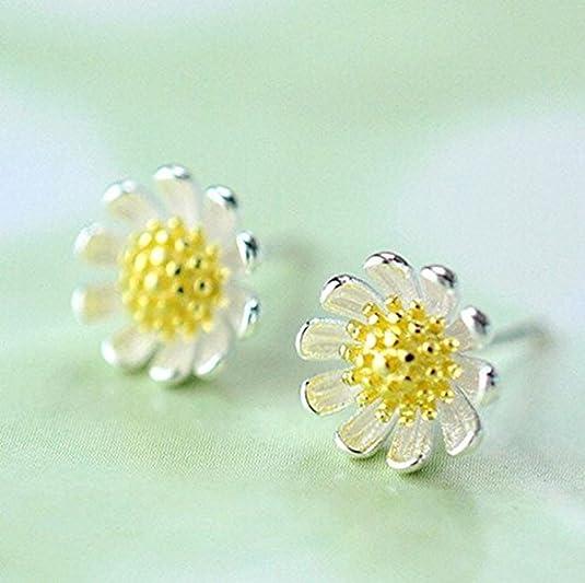 GUIJI Sterling Silver Earrings Cubic Zirconia Sunflower Earrings