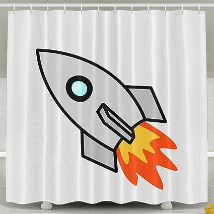 Rocket Cartoon Shower Curtain Waterproof Polyester Fabric Decorative  Bathroom Bath Curtains 6072inch