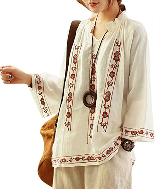 Amazon.com: Yesno - Blusa casual para mujer, diseño étnico ...