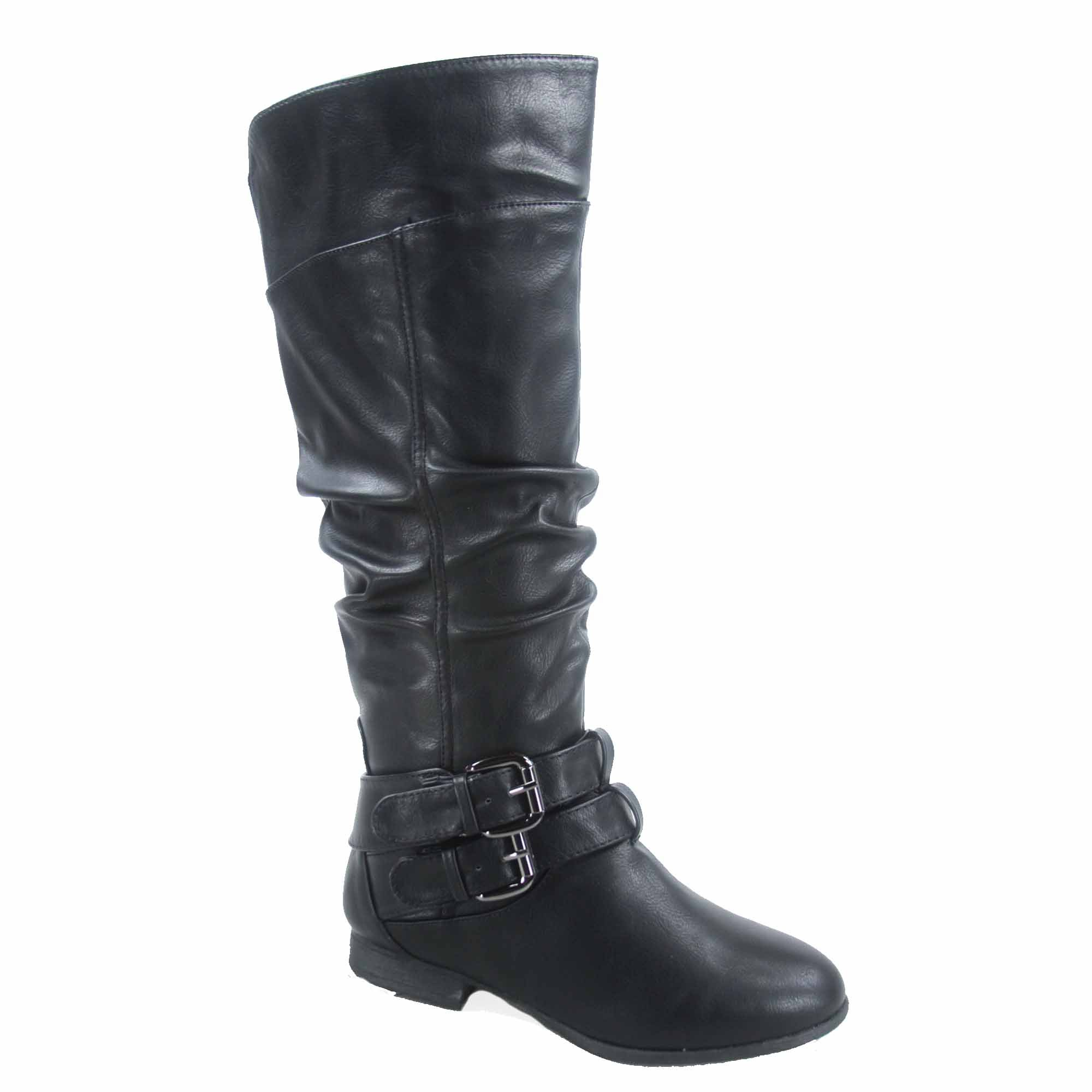 Top Moda Coco-20 Women's Fashion Round Toe Low Heel Knee High Zipper Riding Boot Shoes (6, Black)