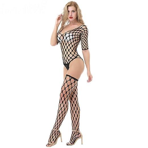 bac45053bef5 Kinrui Fashion Sexy Women Lingeries Sexy Black Lace Fishnet Crotchless  Bodystocking Tights Free Size Bodysuits (