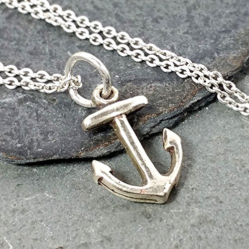 Sterling Silver Anchor Charm - Tiny Anchor Necklace - 925 Sterling Silver
