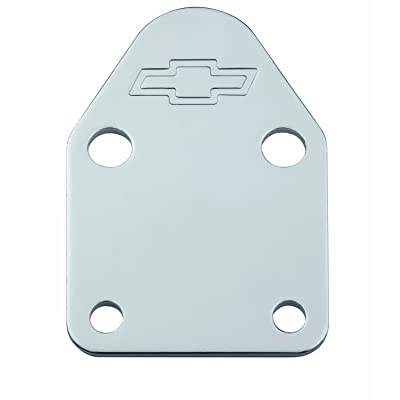 Proform 141-210 Chrome Fuel Pump Block-Off Plate with Embossed Chevy Bowtie Logo for Small Block Chevy: Automotive