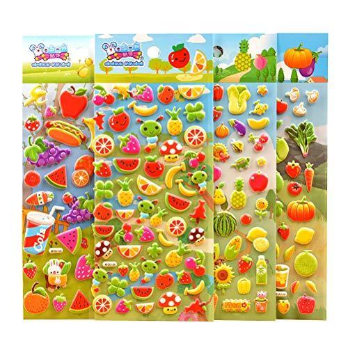 Toyvian Fruit Vegetable Bubble Puffy Stickers Cute Cartoon PVC Foam Stickers Party Favors 4 ()