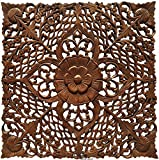 Square Coastal Carved Teak Wood Plaque. Floral Twist Wood Wall Art Hanging. Oriental Home Decor. 24''Square (Brown)