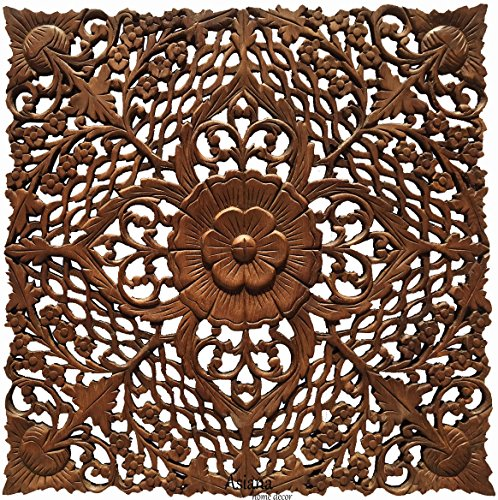 Square Coastal Carved Teak Wood Plaque. Floral Twist Wood Wall Art Hanging. Oriental Home Decor. 24