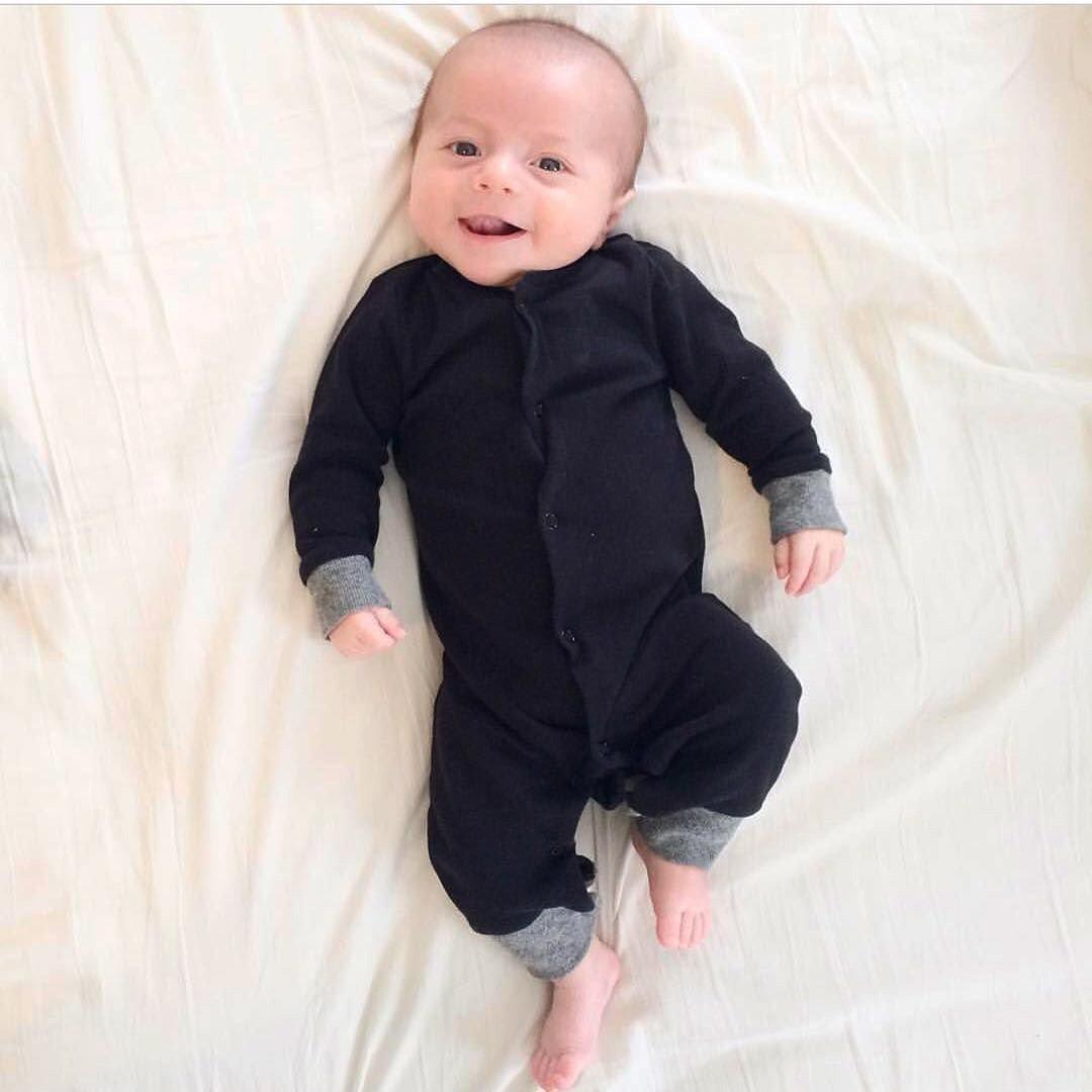 Baby Letter Print Romper Black Autumn Jumpsuit Newborn Infant Outfits Clothes SHOBDW Boys Rompers
