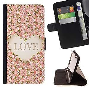 - Love Flower - - Monedero PU titular de la tarjeta de cr?dito de cuero cubierta de la caja de la bolsa FOR Sony Xperia Z2 D6502 Retro Candy