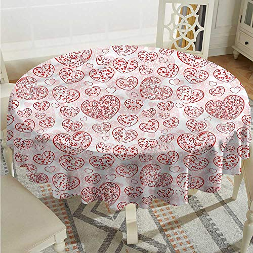 (Tim1Beve Love Round Tablecloth Hearts Artistic Curly Lines for Banquet Decoration Dining Table Cover D36 INCH)