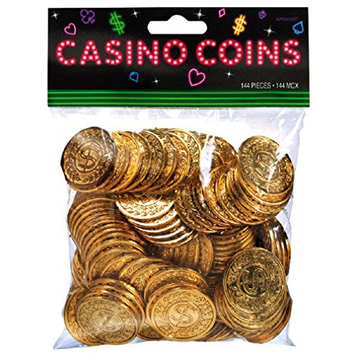 Plastic Casino Gold Coins, 144 Ct - Pacakaging May Vary]()