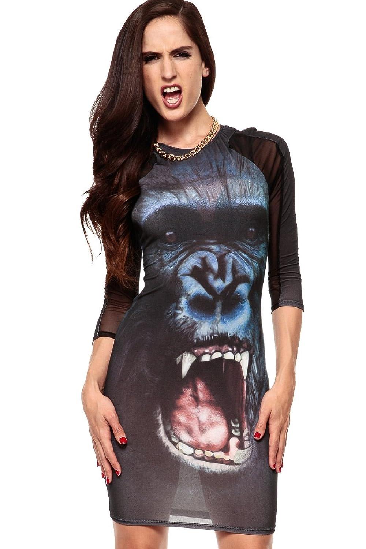 O&W Wild Animal Apes Print Bodycon Club Dress