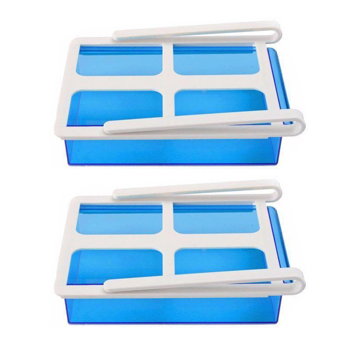 Auntwhale 2 Pack Refrigerator Storage Box Slide Fridge Freezer Organizer Refrigerator Storage Rack Shelf Drawer
