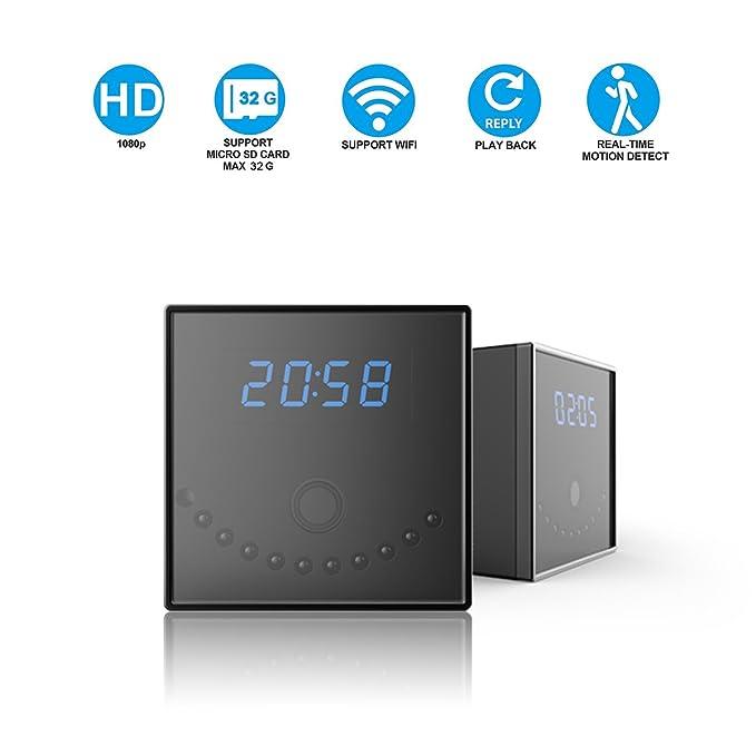 Cámara Espía Corprit Inalámbrica Oculta HD 1080p WiFi, Cámara de Seguridad y Reloj Alarma de Sobremesa en Forma de Cubo Negro, para el Hogar y la ...