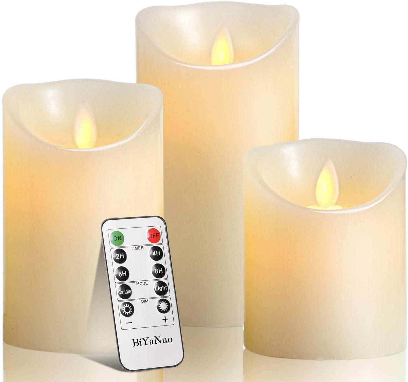 flammenlose Kerzen Echtwachskerze 12,7 cm mit 24-Stunden-Zeitschaltuhr Stumpenkerze BiYaNuo LED-Kerzen Fernbedienung mit 10 Tasten flammenloses kerzenlichter,10,2 cm 1 * 3 15,2 cm