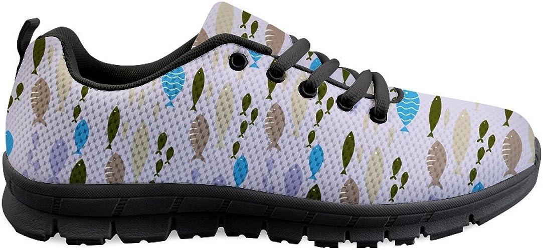 Gopumchy - Zapatillas de Running para Mujer, Sombra de Pescado y Lavanda, con Suela Negra, Transpirables, con Cordones: Amazon.es: Zapatos y complementos