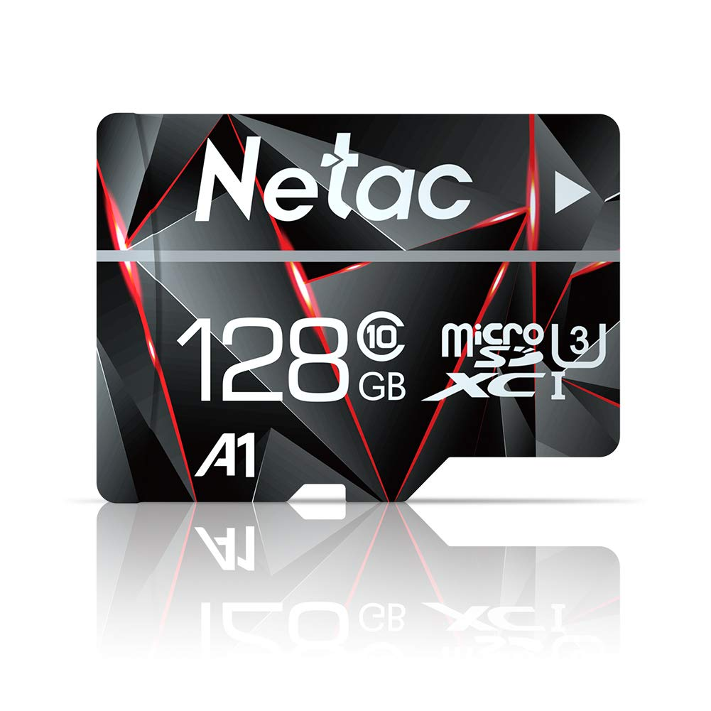 128GB Micro SD Card, Netac Memory Card MicroSD High Speed Transfer A1 C10 U3 MicroSDXC TF Card for Cemera/Phone/Nintendo-Switch/Galaxy/Drone/Dash Cam/GOPRO/Tablet/PC/Computer with Adapter by Netac