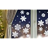40 Snowflake Window Cling Stickers - Seasonal Christmas Window Decorations by R & S Supplies Ltd