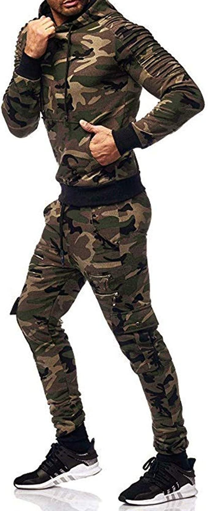 Fleece Camouflage Tracksuit Hoodie Cargo Jogger Set S 2XL
