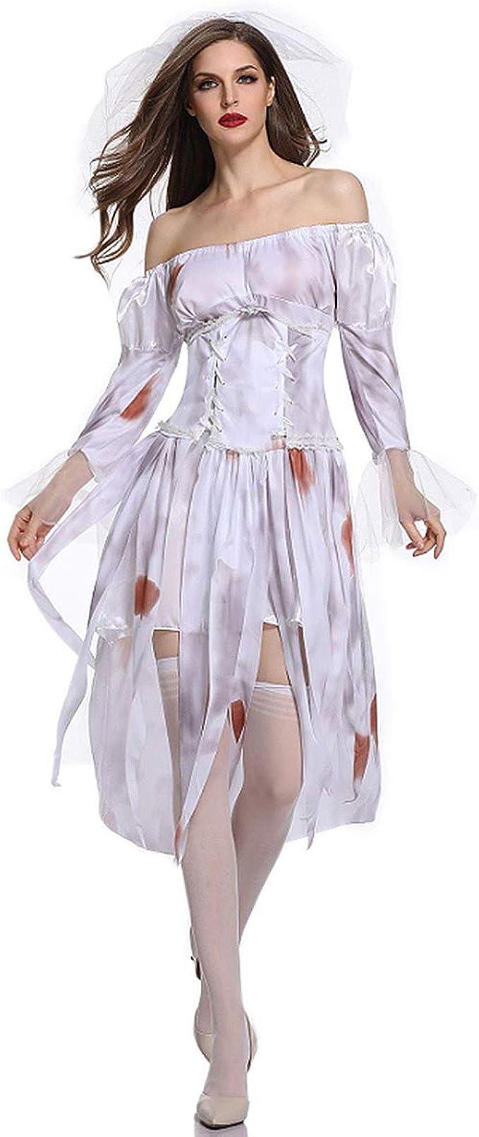Disfraz de Mujer,Vestido De Novia Fantasma De Halloween Diablo ...