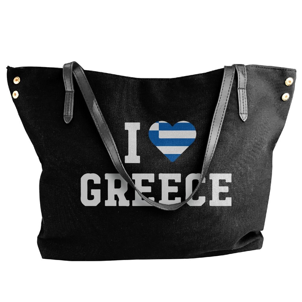 Women Canvas Tote Bag,I Love Greece Flag Heart Casual Travel Bags For Women