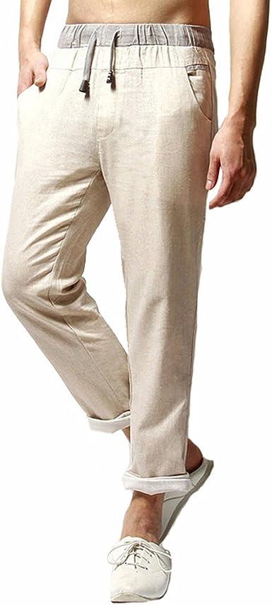 TieNew Verano Hombre Moda Lino Pantalones, 2018 Pantalones Hombre Verano Pantalones de Lino Sueltos Pantalón de Playa con Bolsillos Laterales Pantalones Hombres Largos Pantalone Casuales Transpirable: Amazon.es: Ropa y accesorios