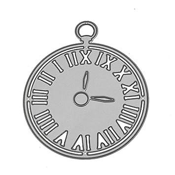 Yunnuopromi - Plantillas para manualidades con números romanos para cortar relojes, plantillas de bricolaje en relieve para álbumes de recortes de tarjetas ...