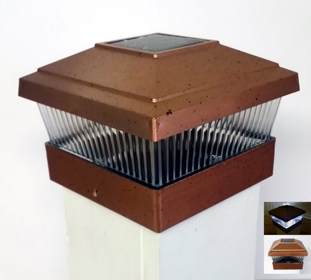 2 Pack Solar Powered Outdoor Garden Fence Post Cap LED Light for 5x5 PVC Posts, Copper by Gen RR