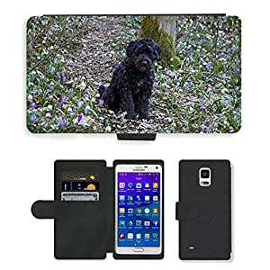 Hot Style Cell Phone Card Slot PU Leather Wallet Case // M00112953 Dog Pet Puppy Canine Domestic // Samsung Galaxy Note 4 IV