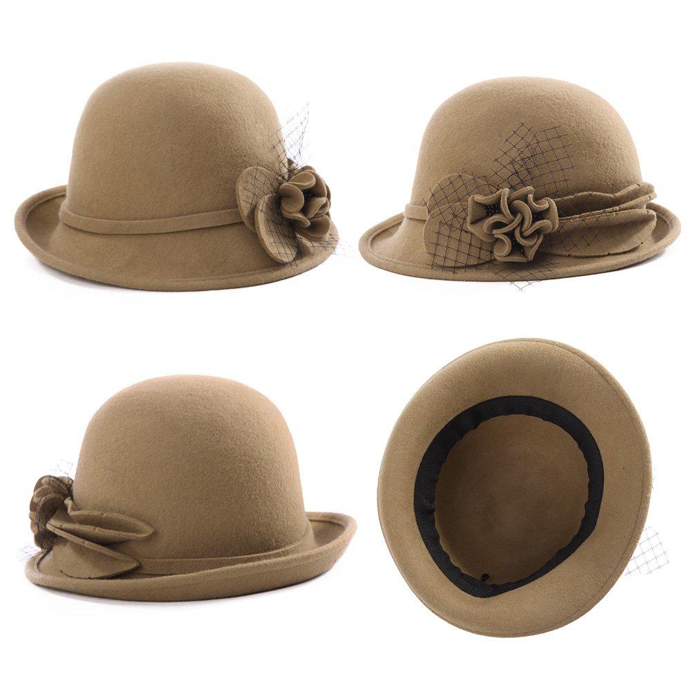 SIGGI Damen 100/% Wolle Glockenhut warme 1920s Vintage Cloche Bucket Hut Kambel