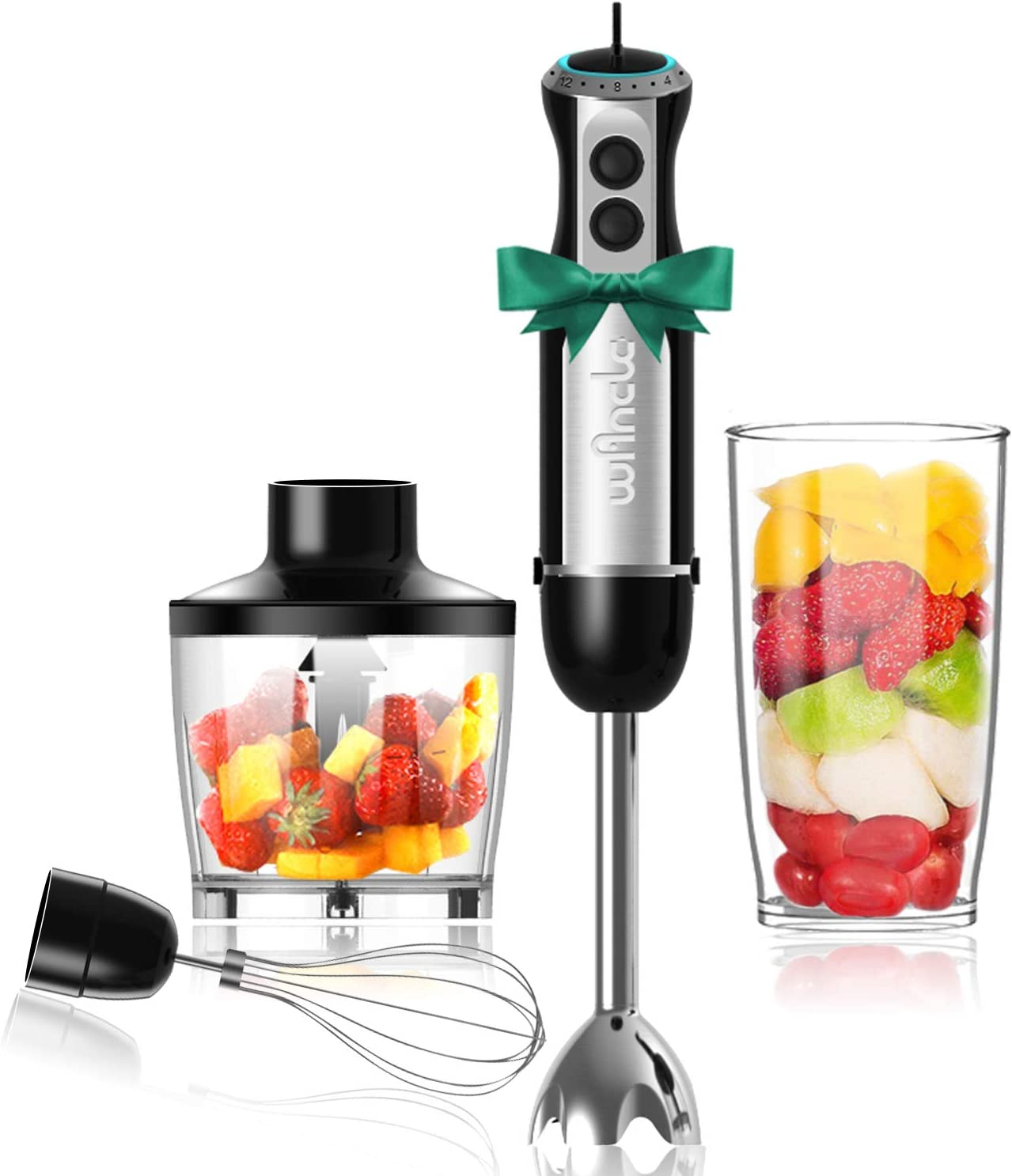 Wancle Immersion Hand Blender Set Stick Blender 16-Speed 4-in-1 With 500ml Food Grinder, 600ml Container, Egg Whisk, Puree Infant Food, Smoothies, Sauces and Soups , 304 Stainless Steel , BPA-Free Black