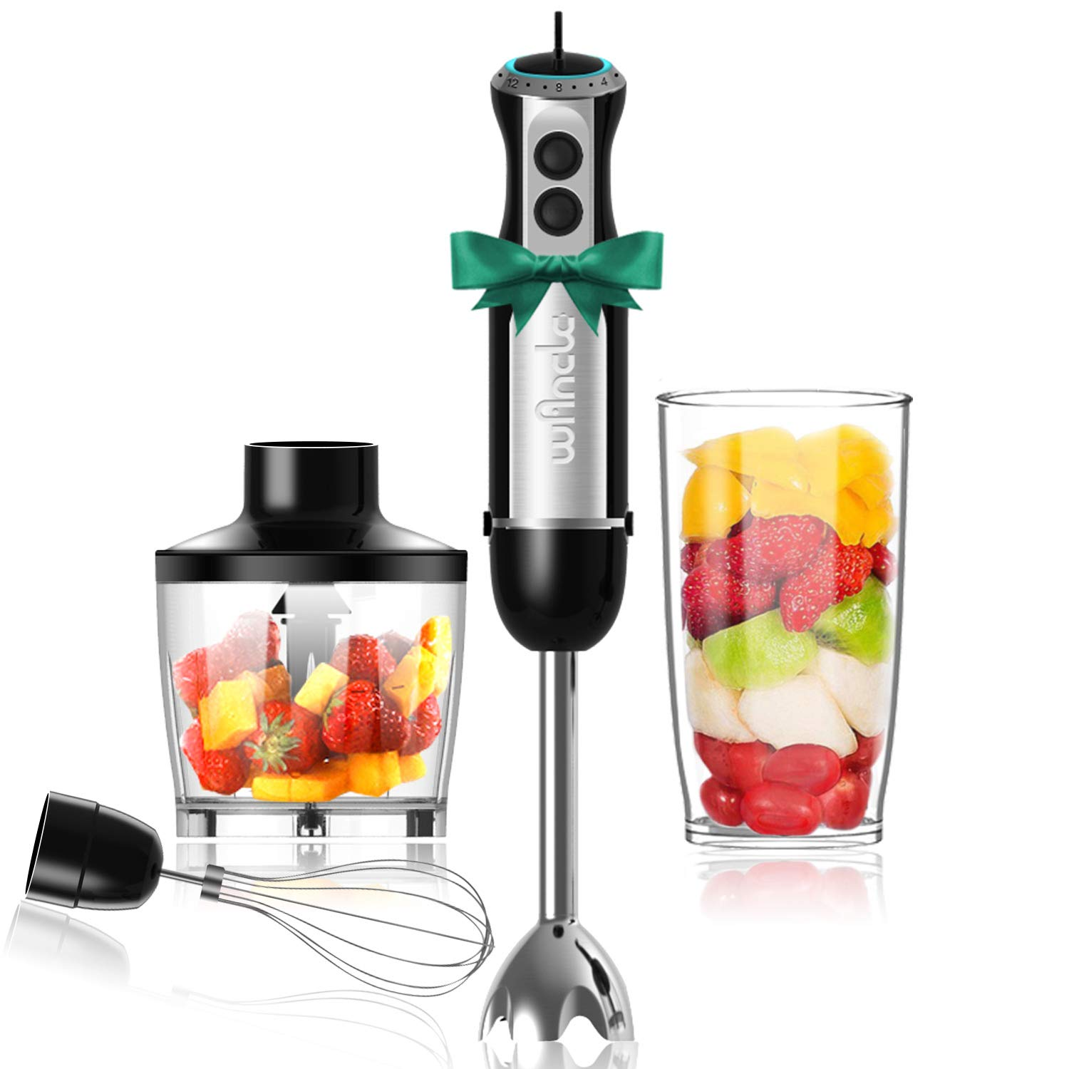 Wancle Immersion Hand Blender Set Stick Blender 16-Speed 4-in-1 With 500ml Food Grinder, 600ml Container, Egg Whisk, Puree Infant Food, Smoothies, Sauces and Soups , 304 Stainless Steel , BPA-Free (Black) by WancIe