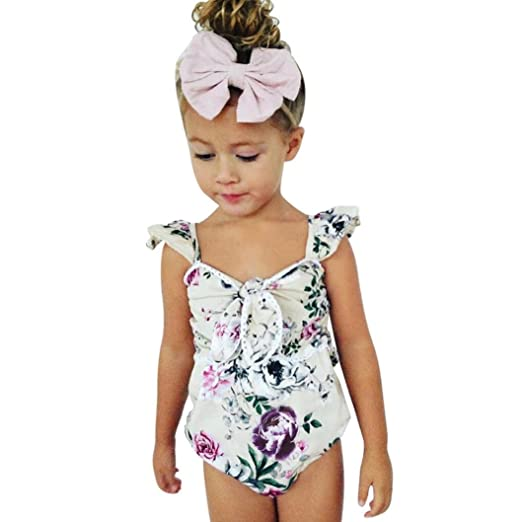 1fc666802b59 Amazon.com  Lurryly Infant Baby Girls Sleeveless Lace Floral Print Vest Romper  Jumpsuit Clothes 1-4T  Clothing