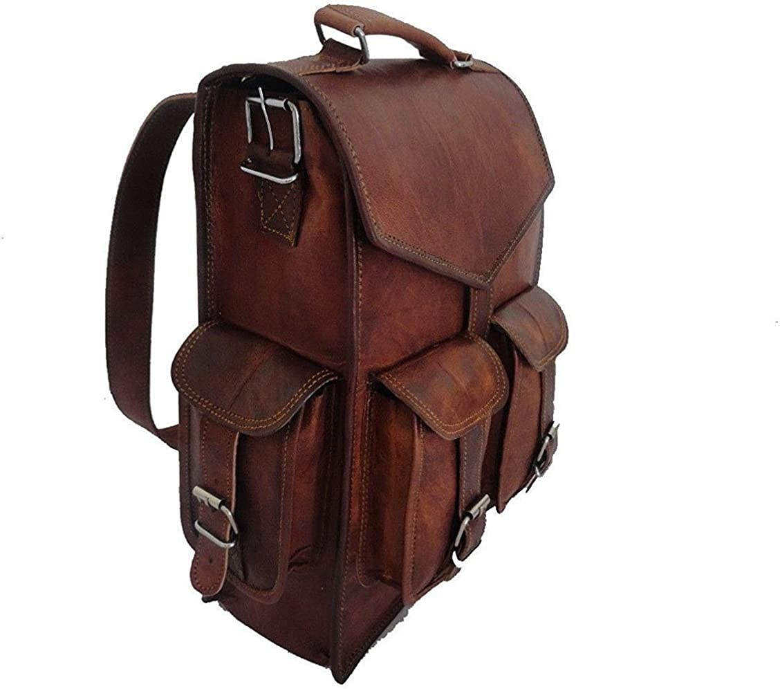"15"" leather backpack Laptop Messenger Lightweight School Bag Rucksack Sling Men"