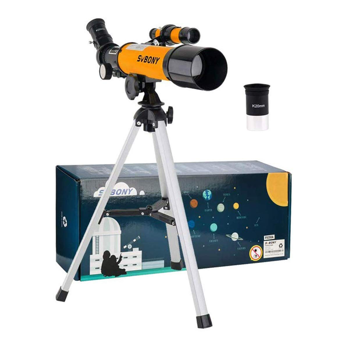 SVBONY SV502 Telescope for Kids 50mm Objective Lens and 5X20 Finder Scope for Exploring Moon Science Education by SVBONY
