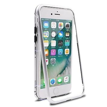 HDTOSNER Funda iPhone 8, Carcasas iPhone 7, Adsorción Magnética Metal Bumper con Cristal Templado Contraportada Transparente Protectora para iPhone 7/ ...