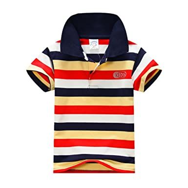 866554415b Timall Toddler Boys Girls T-Shirt Short Sleeve Collar Tops Striped Polo  T-Shirt