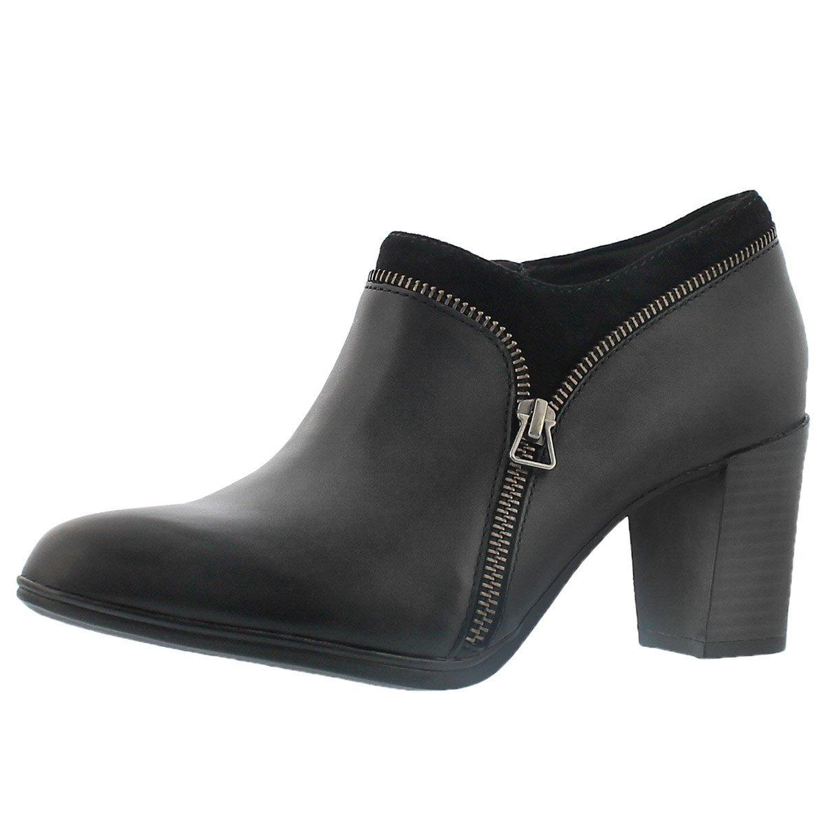 Clarks Women's Araya Morgan Bootie B0195QLSI2 5.5 B(M) US|Black Leather/Suede Combo